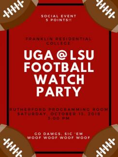 UGA @ LSU Watch Party Poster