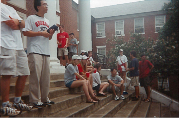 FRC BBQ outside old Rutherford in the early 2000s